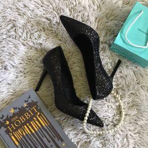 Black glitter stiletto heels